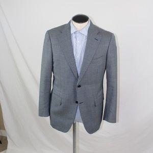 Canali 2 button blue chevron wool blazer 44R US